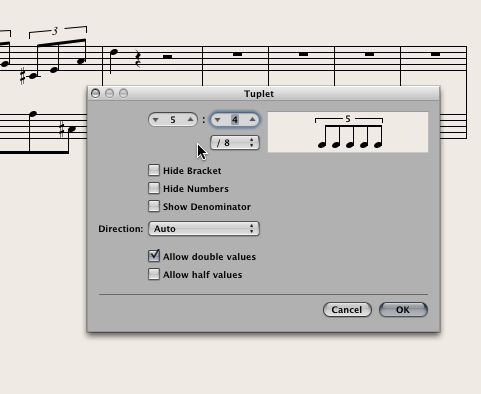 Figure 4: the tuplet dialog box