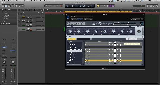 (Pic 1b) The sounds loaded into Massive's browser.