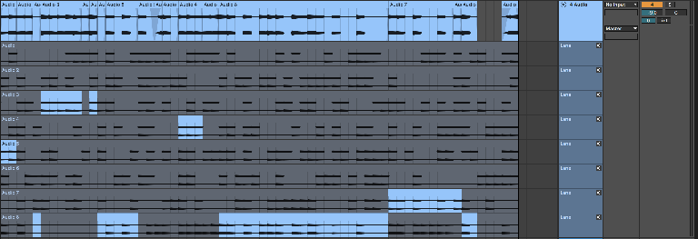 PIC 3: Comping Audio take segments with Fades imposed and some sections reversed.