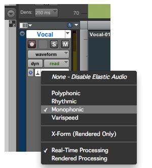 Choosing the Elastic Audio Plug-in