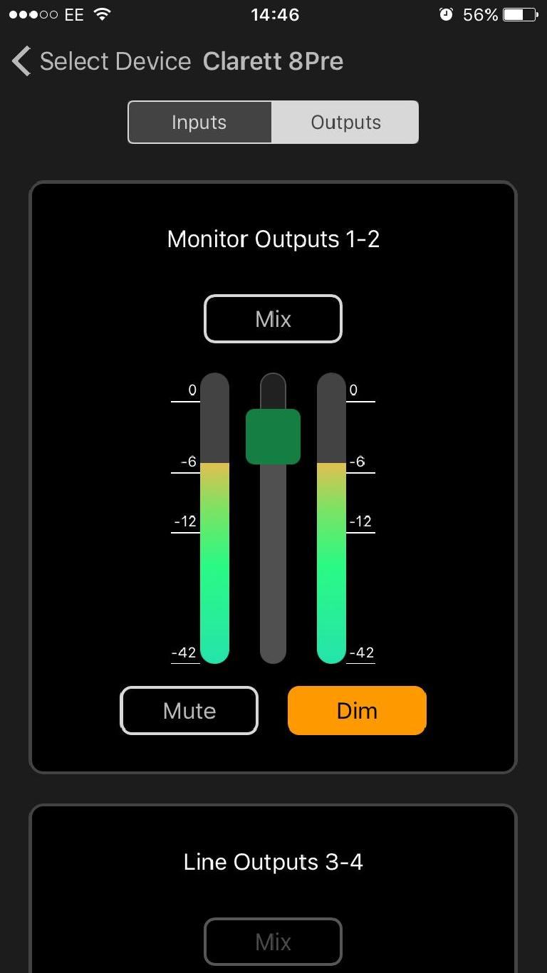 Mixing on Focusrite iOS Control