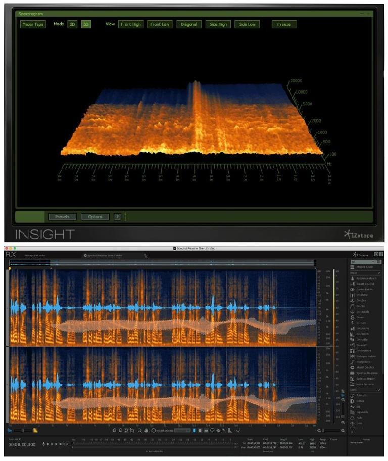 A 3D Spectrogram display (top, in Insight); a 2D editable Spectrogram (bottom, in RX6) with a bit of embedded leakage (a siren in a vocal recording) selected for removal