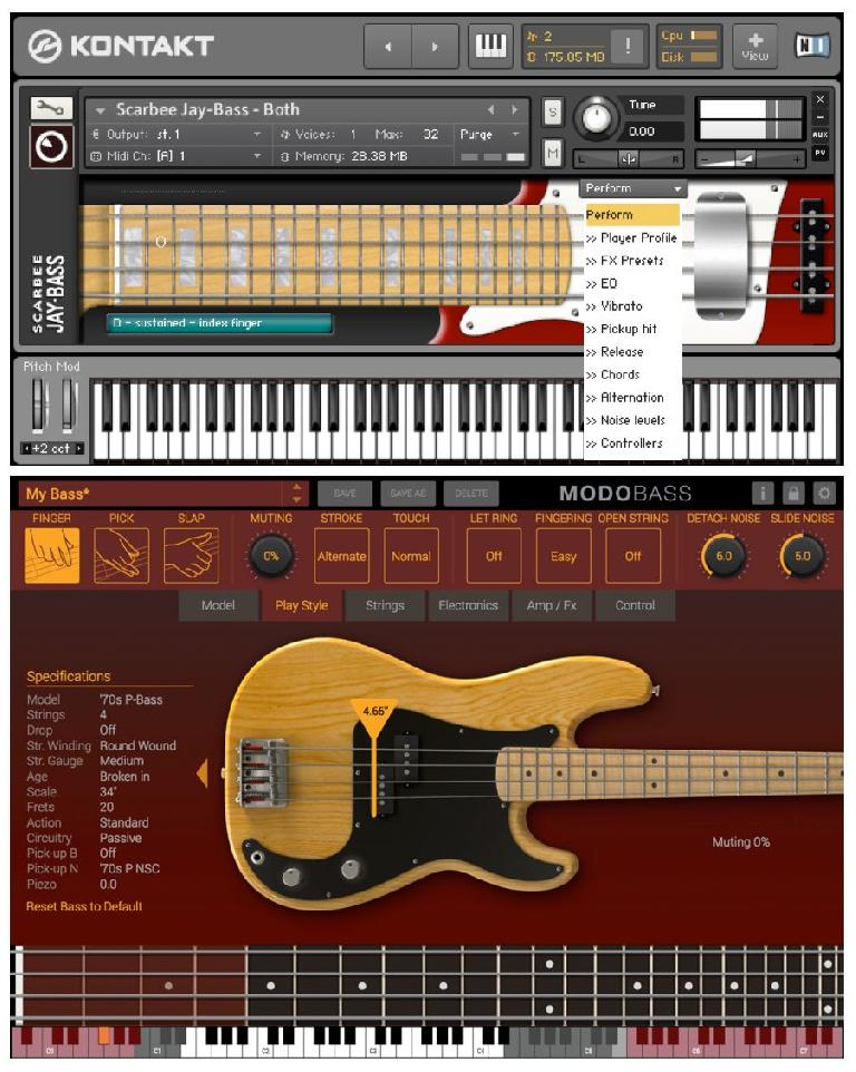 A couple of high-end bass Instruments with sophisticated articulation options
