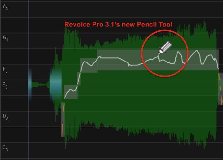 Revoice Pro 3.1's Warp Process has a new Pencil Tool for pitch curve editing
