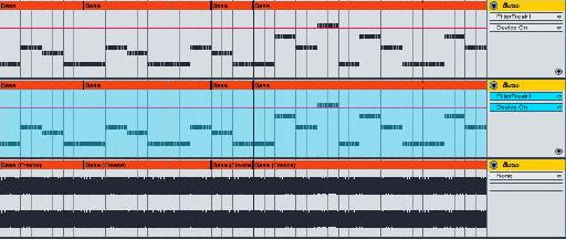 """The same bass track. At the top it is a MIDI track playing a virtual instrument. In the middle, it has been """"frozen"""", and at the bottom it has been """"flattened"""" into an audio track."""