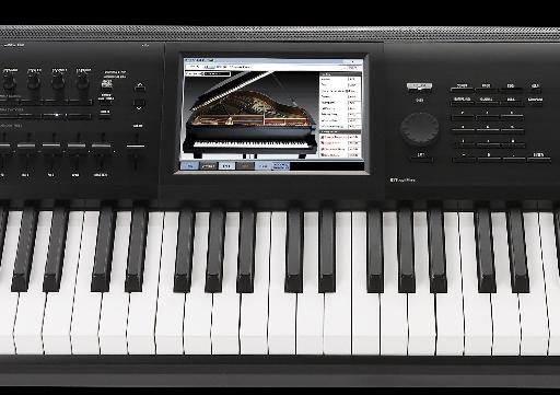 Close-up of the Korg Kronos screen and navigation screen in action.