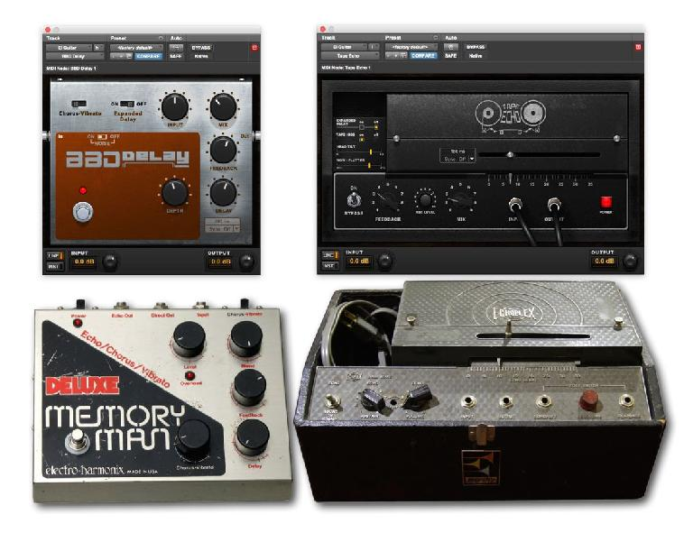 BBD Delay and Tape Delay, plus the hardware that inspired them