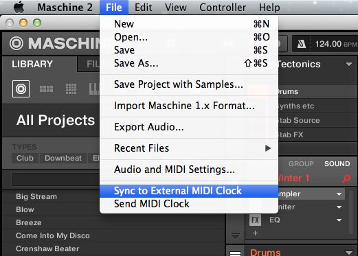 sync to external MIDI clock