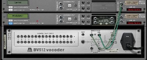 drag the direct out from your carrier in to the Carrier input on the vocoder