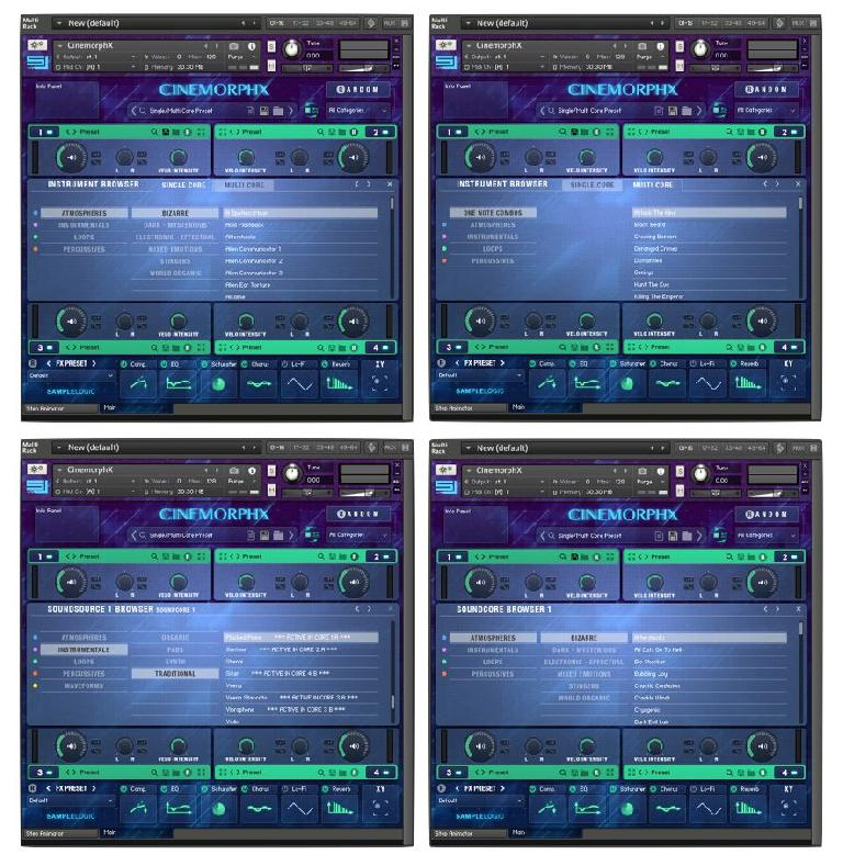 CINEMORPHX menus for loading the Factory Presets, showing the various preset types and sub-categories.