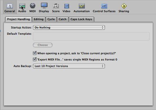Logic Pro's Auto-Backup feature