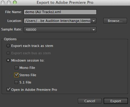 Export to Premiere.
