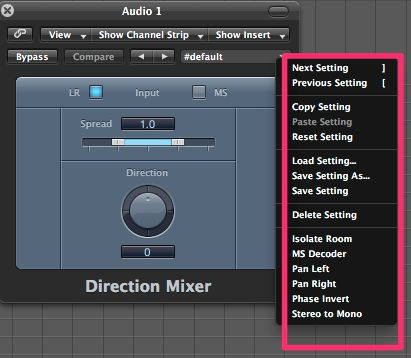 The Direction Mixer presets.