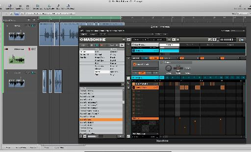 Maschine running as an Audio Unit (AU) plug-in in Logic Pro.
