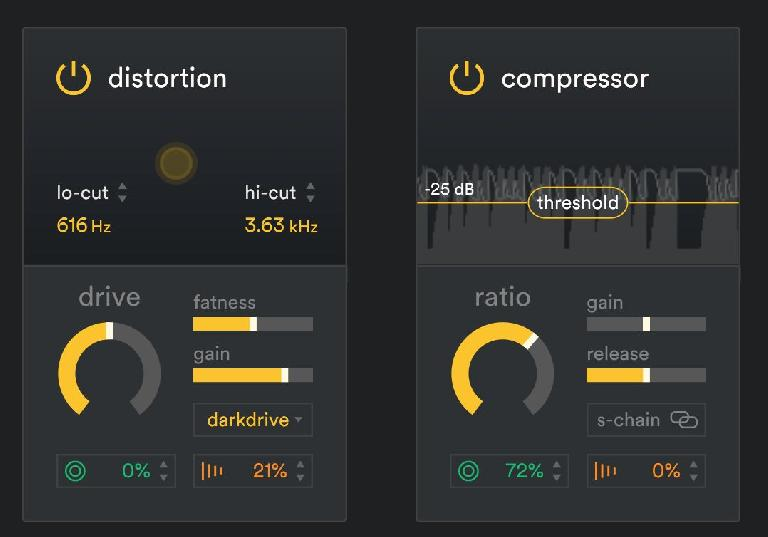 SubLab's effects, with Distortion applied to the Sampler, and Compression applied to the Synth layer.