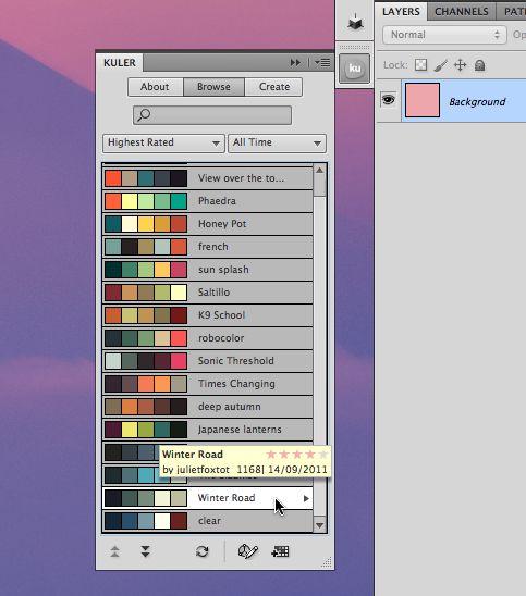 color palettes from Kuler.com