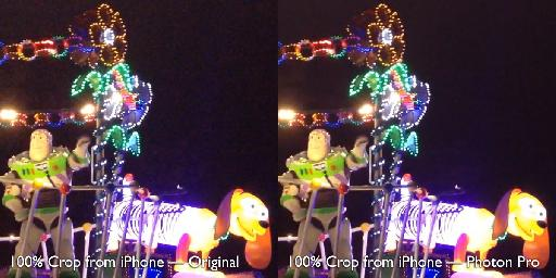 iPhone footage (from the Tokyo Disney Sea night parade) before and after Photon Pro.