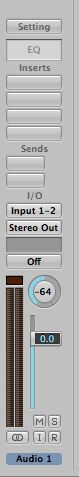 Here you can see a Logic Pro 9 stereo channel strip in the Inspector panned all the way to the left. At that position, any source material on the right would not be audible.