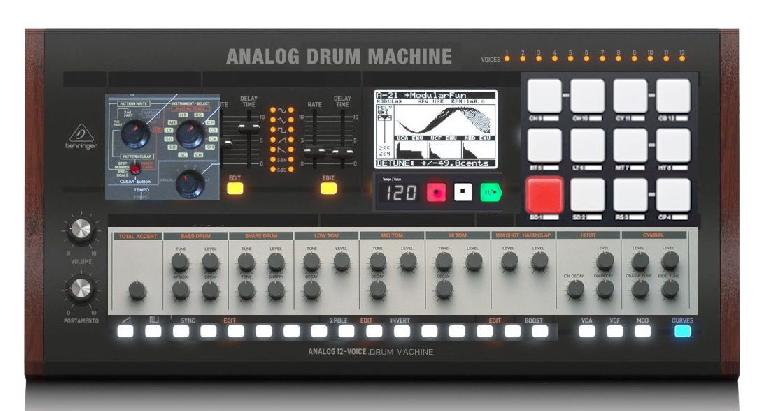 This is NOT the design of the Behringer analog drum machine. It is sections of other popular drum machines pasted together.