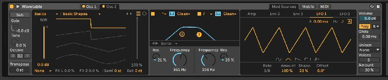 A glimpse of Wavetable's LFO and filter settings.
