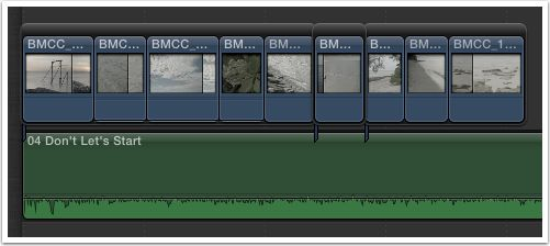 Audio on primary, several connected secondary storylines where sync is important.