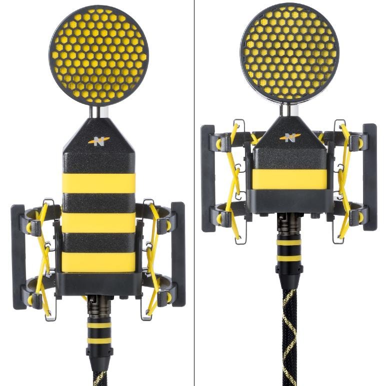 *Figure 2. The King Bee (left) and Worker Bee (right), side-by-side, in Beekeeper shock mounts and Honeycomb pop filters attached.