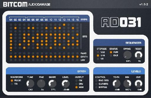 AudioDamage Bitcom (the Synth row)