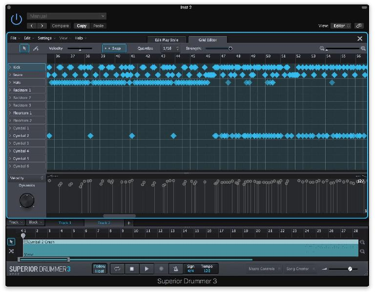 The built in Grid Editor enables full control over your own, converted grooves, and the bundled grooves in the SD3 library.