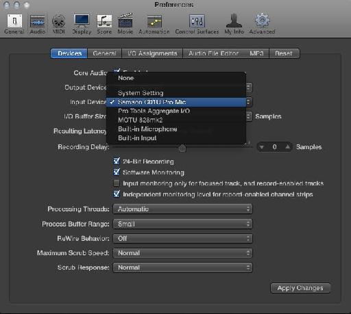The C01U Pro in Logic's Audio Preferences.