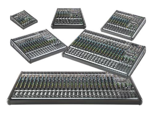 The complete range of new Mackie ProFXv2 series effect mixers.