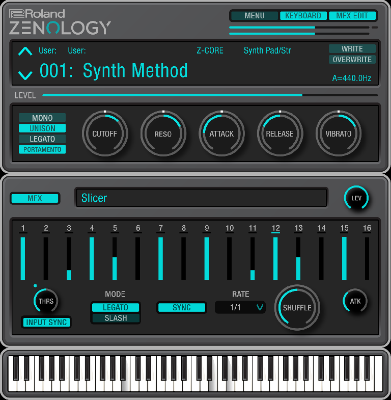 Roland Zenology user interface