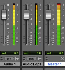 Two tracks whose signals have been tracked up to 0 dB are clipping the output, as shown Master fader meter