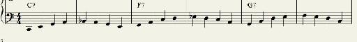 Bass Pattern 1:  Quarter Note Walking Bass Outlining the Chord Tones.