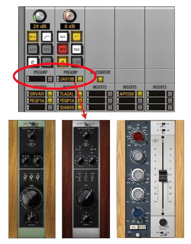 Fig 7 UA's Unison technology combines software & hardware to emulate classic preamps: (Top) Inserting a Unison preamp model in the UA Console; (Bottom) some Unison-equipped plug-ins