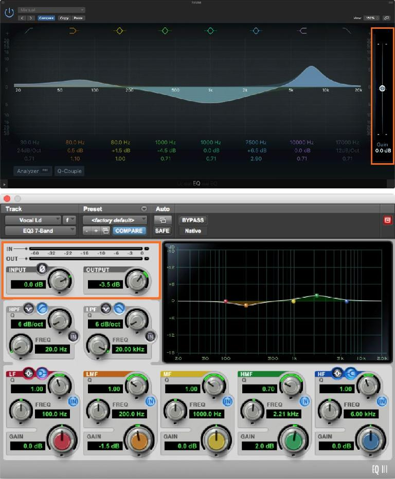 Level controls for gain-staging within EQs