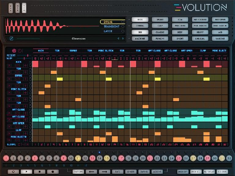 The sequencer page in the Evolve instrument.