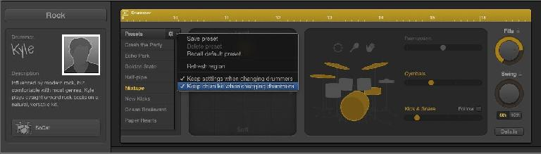 Fig 3 The Presets pop-up, where you can choose to preserve the current kit and performance settings.
