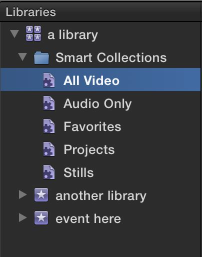The new-look Library pane, where Smart Collections sit at the top level of each Library.