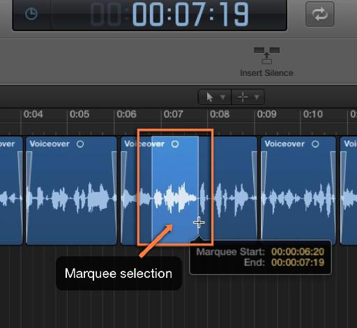 Marquee selection in Logic Pro X