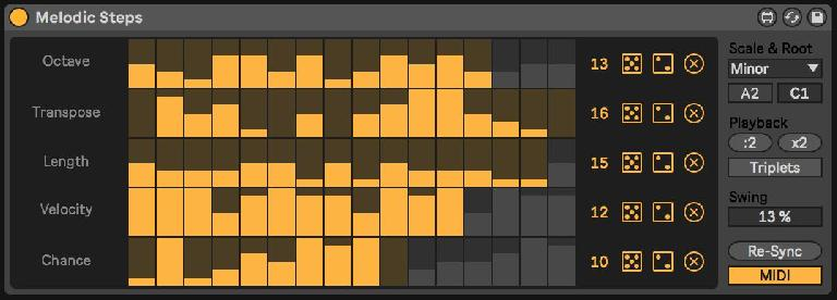 Melodic Steps with multiple parameter lengths and MIDI mode engaged.