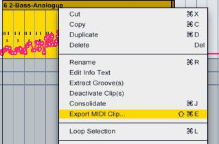 Exporting MIDI in Ableton