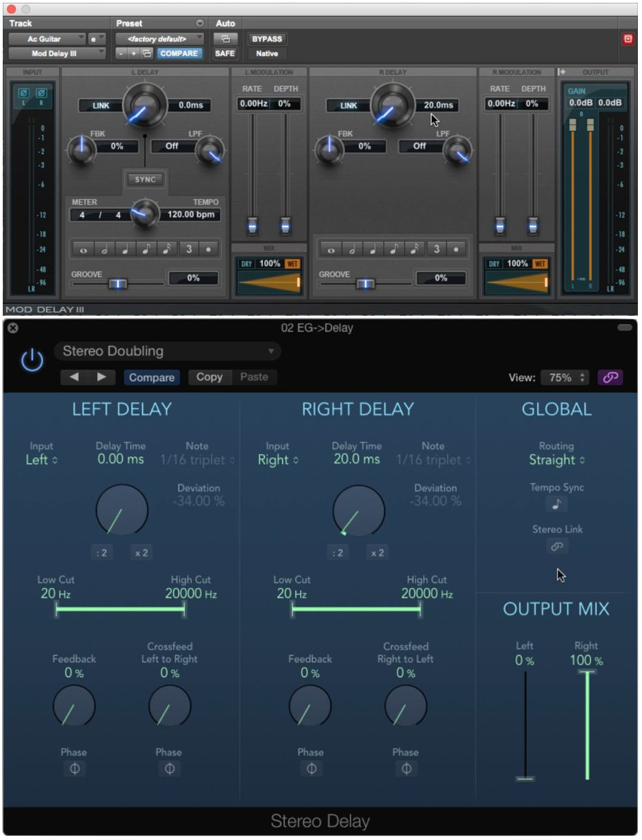 Typical delay plug-ins set up for doubling