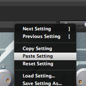 Paste in settings