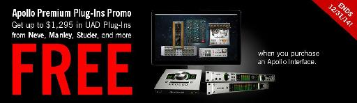 Free Plug-Ins with Universal Audio Apollo purchase picture.