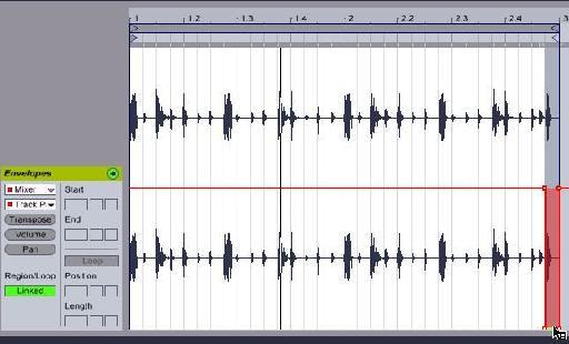 Pan line is left on the last beat of the drum loop