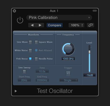 Pink calibration in Logic Pro X