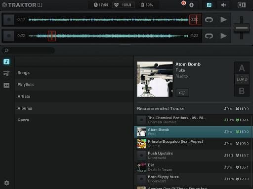 Songs can be loaded from your Music app library, sorted and quickly dropped into a Deck for playback.