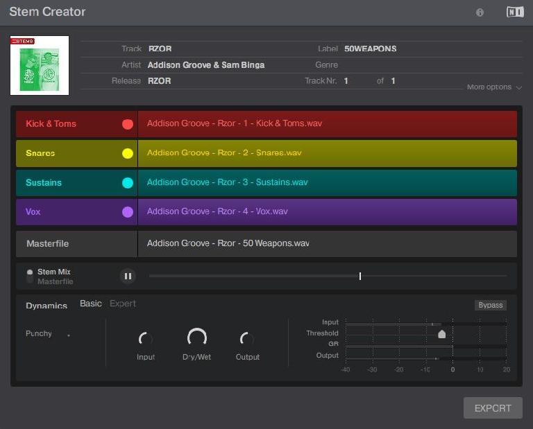 NI Stems Creator interface