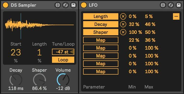 LFO simultaneously assigned to three parameters of a DS Sampler instance