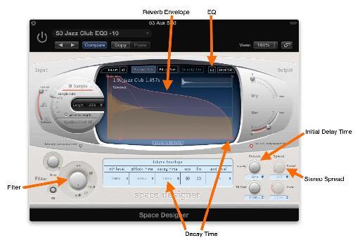 Fig 5 Some of the adjustable parameters of Logic's Space Designer reverb